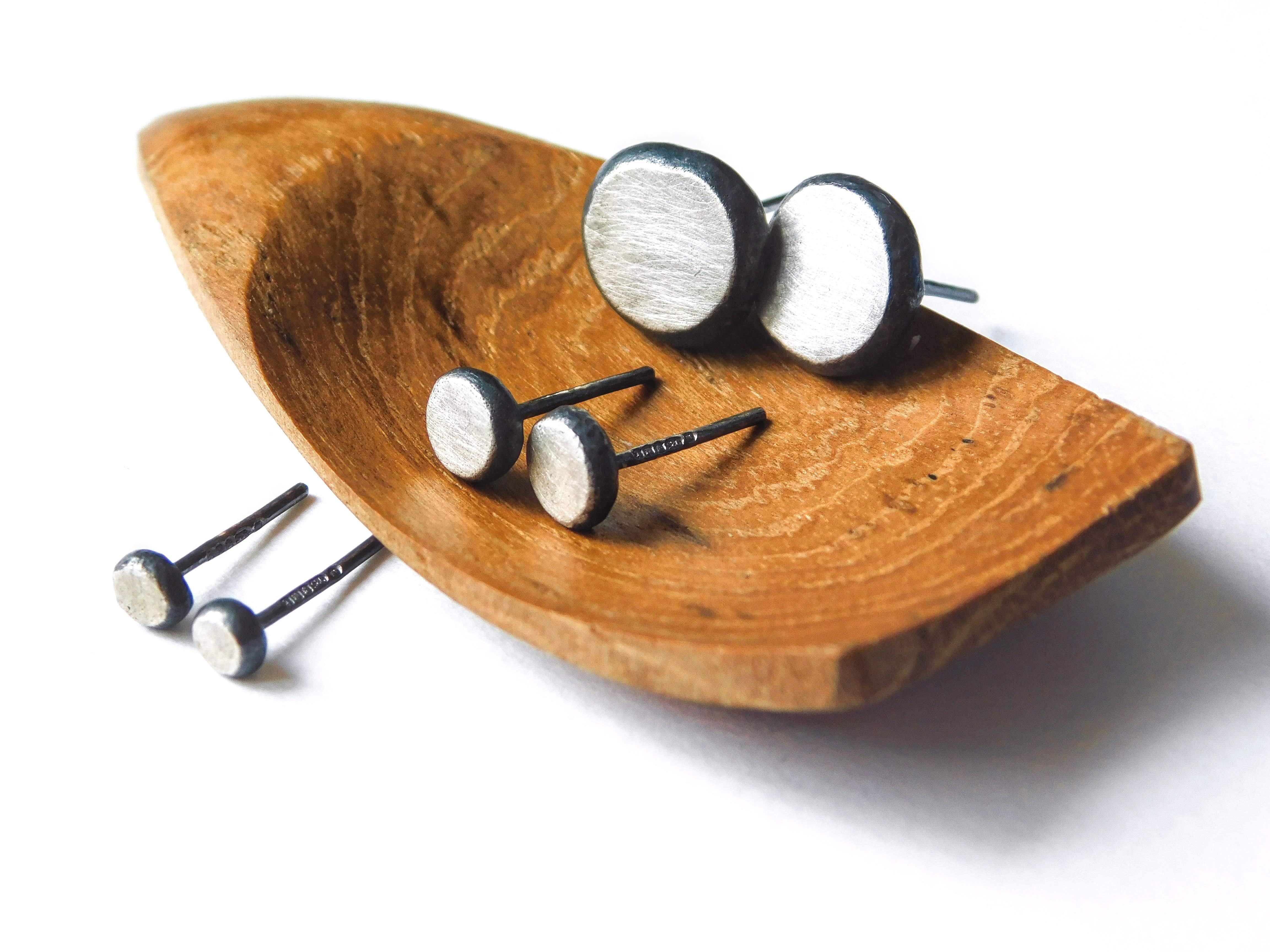 Julie Martin Design Reclaimed Silver Pebble Studs