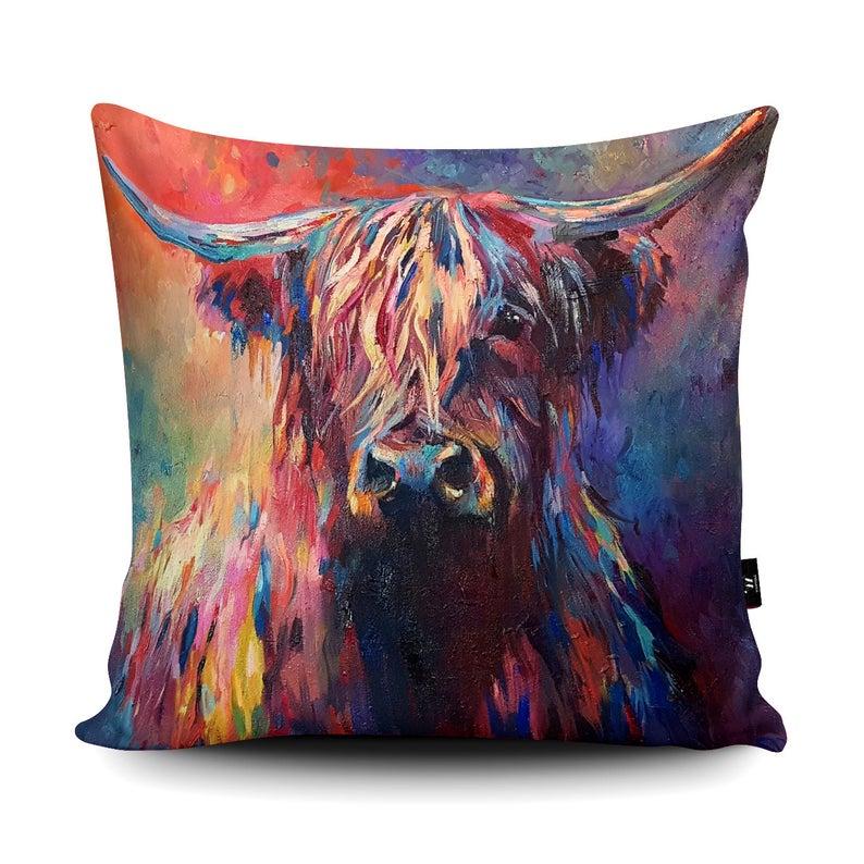 Wraptious Cushion Highland Cow Painting