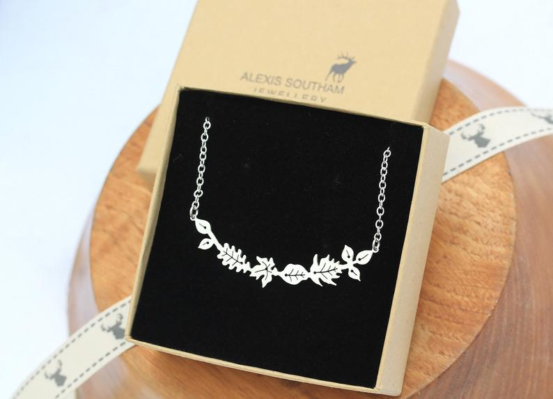 Silver Dancing Leaves Bar Necklace