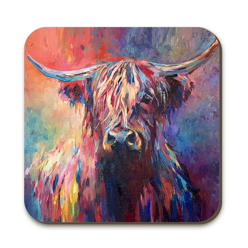 Wraptious Coaster - Highland Cow Painting