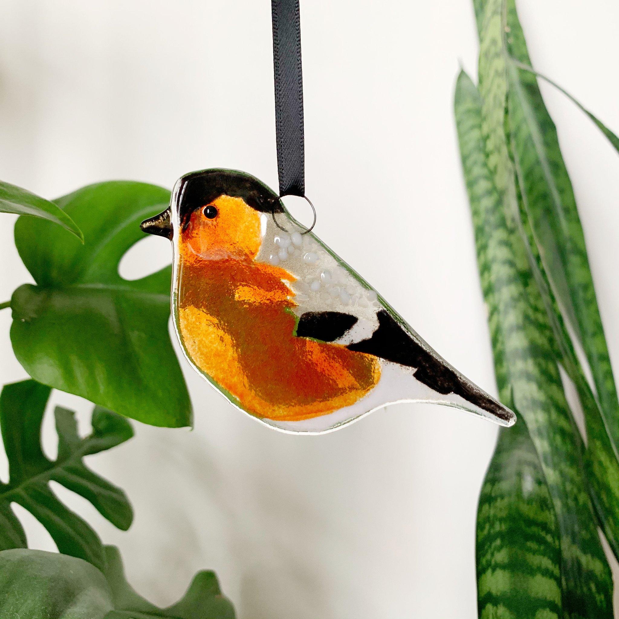 Glass Bullfinch Decoration