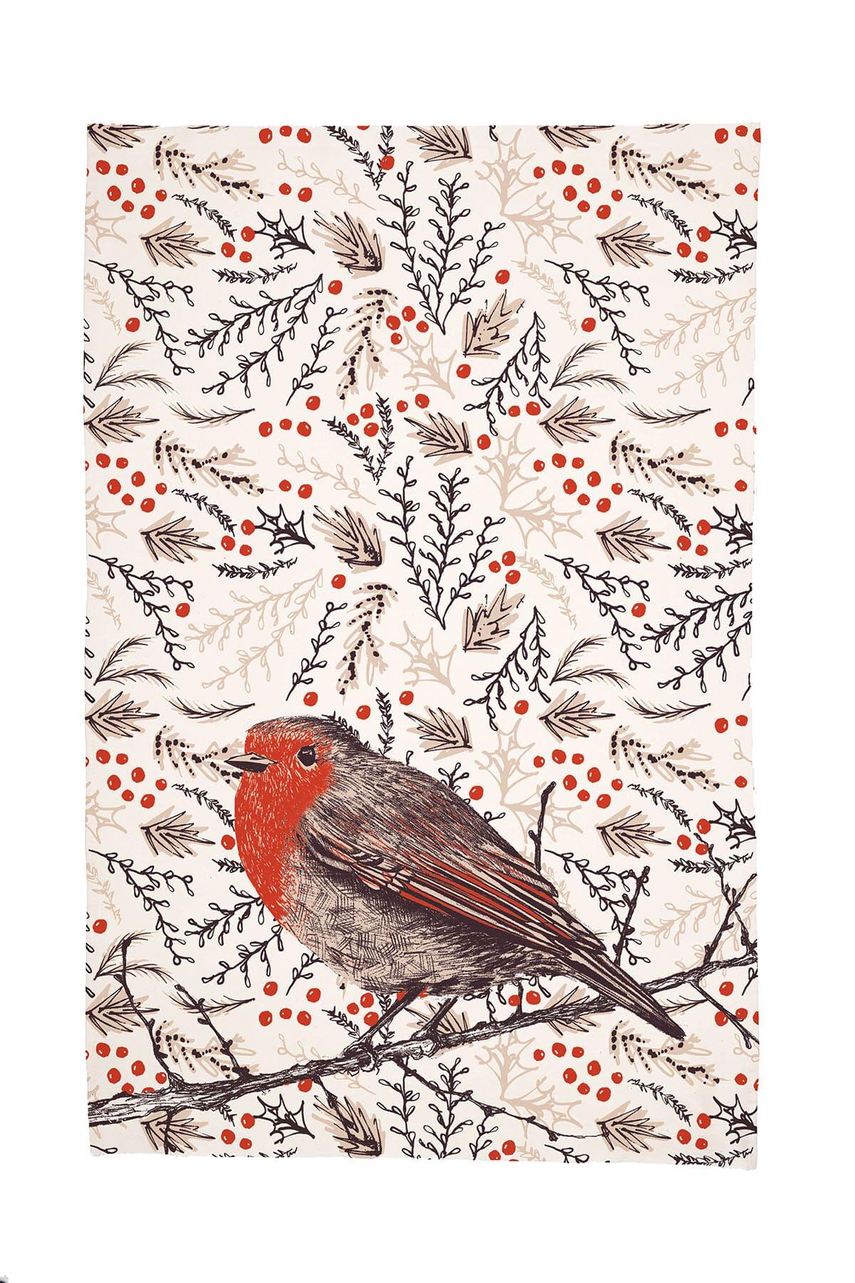 Cherith Harrison Christmas Robin Tea Towel