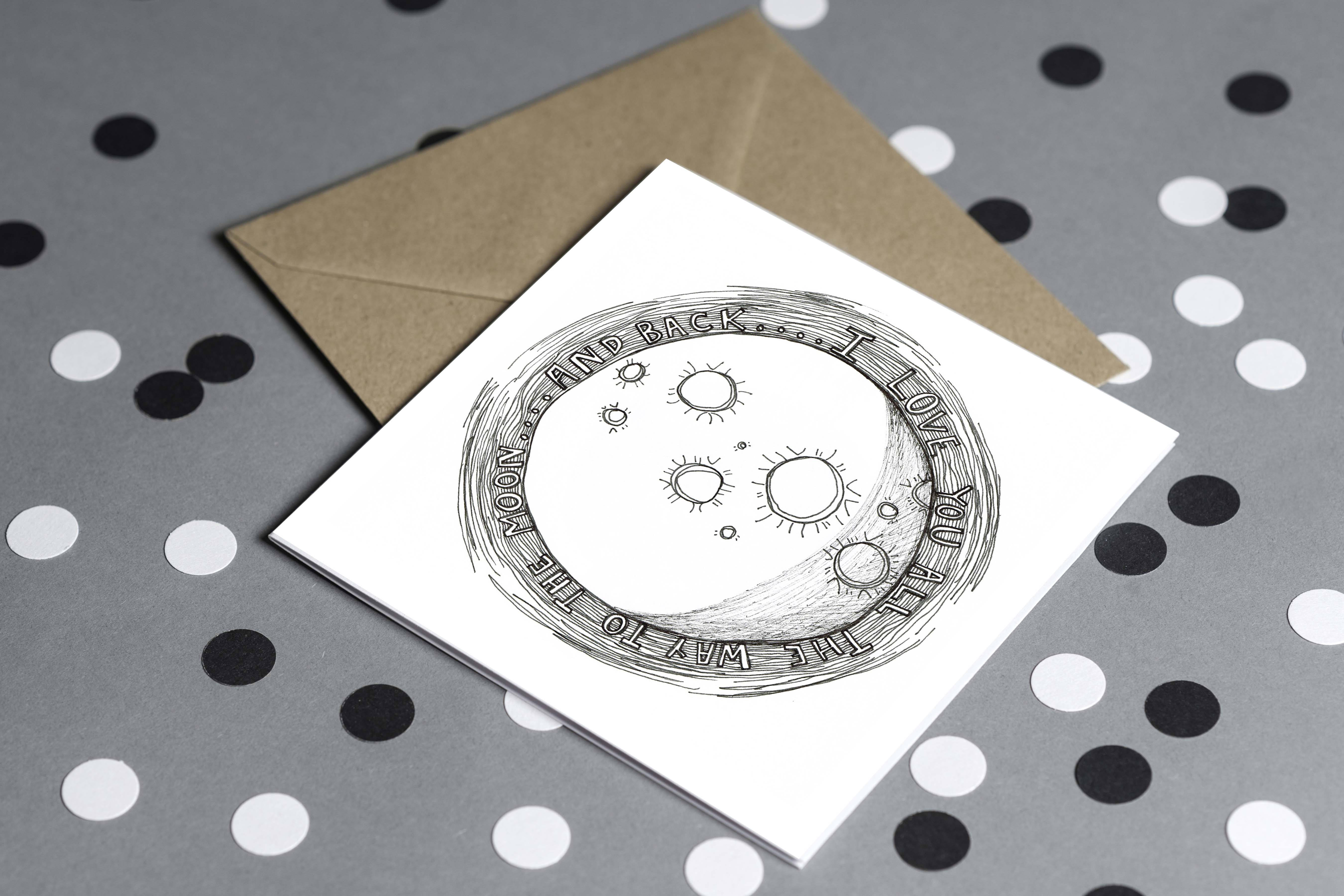 Must Dash Illustrations Moon and Back Card