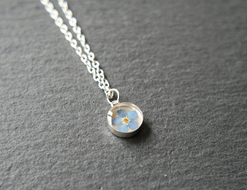 Red Apple Forget Me Not Necklace (Sterling silver)