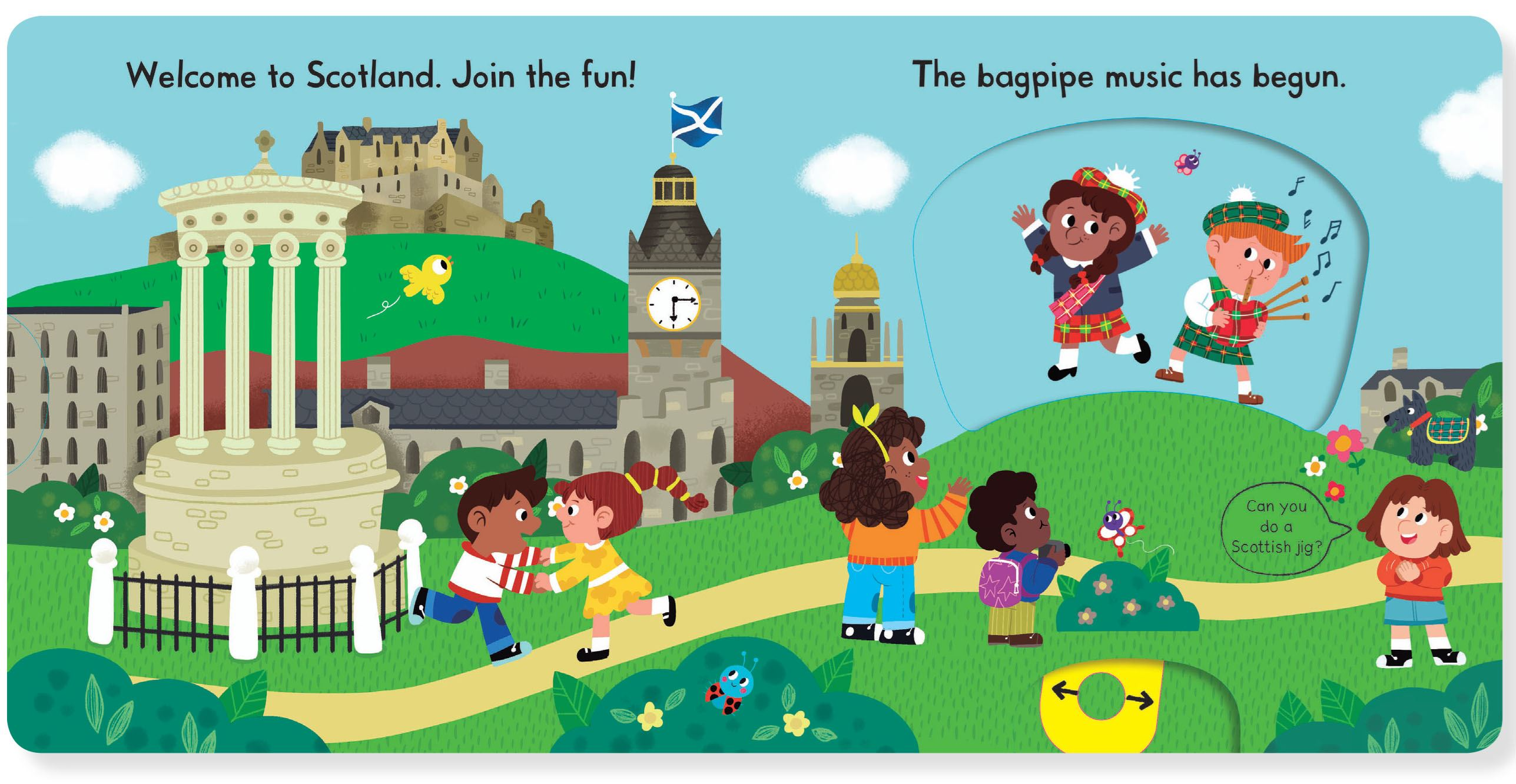 Busy Scotland (Children's Push Pull Slide Board Book)