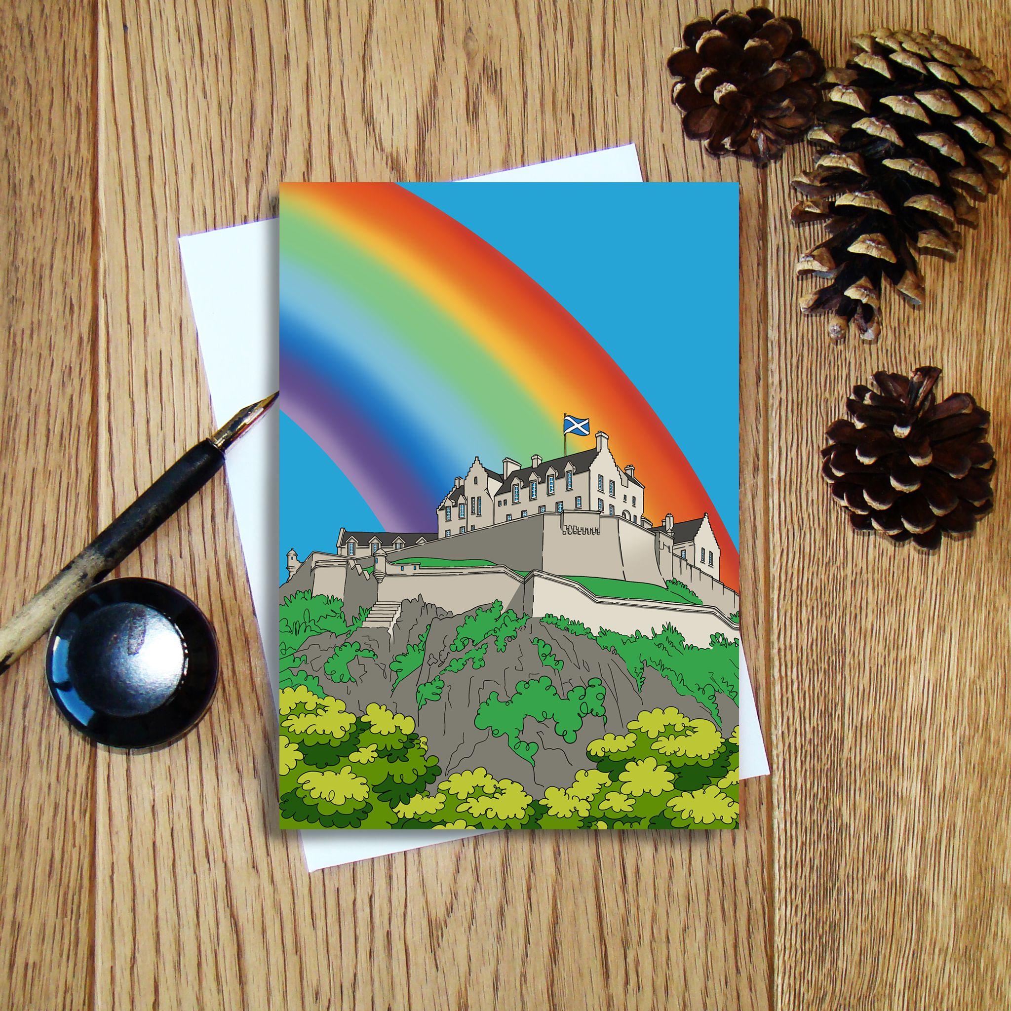 Cheryl Jones Designs Castles & Rainbows (Edinburgh) Greeting Card