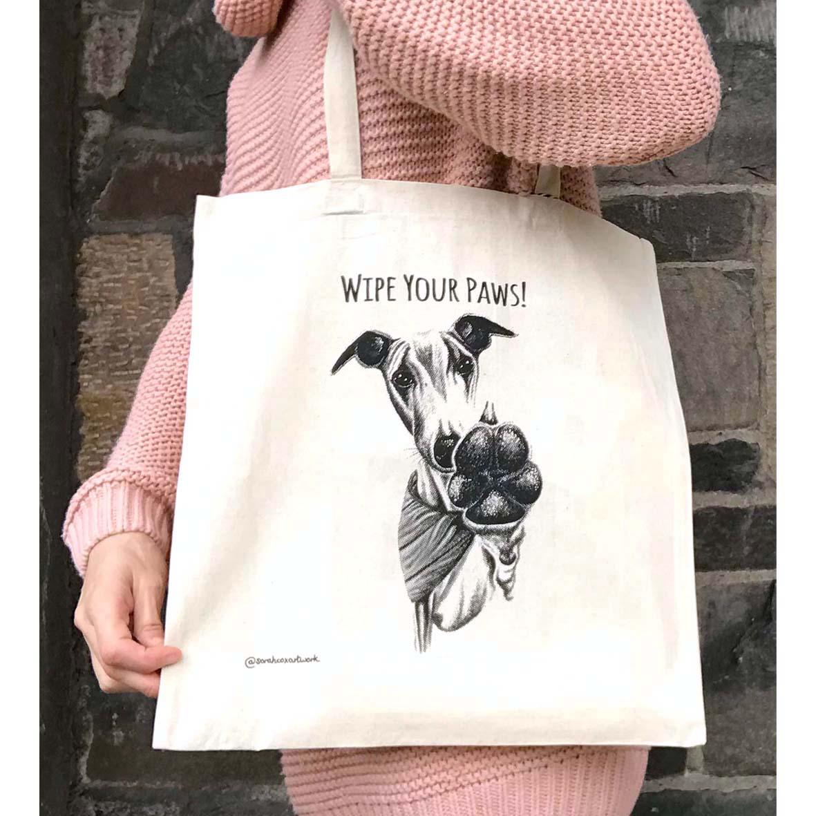 Sarah Cox Artworks Tote Bag SC280 Wipe Your Paws