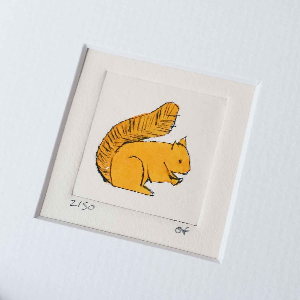 Sally J Fisher Original Collagraph Print in a Square Frame – Red Squirrel