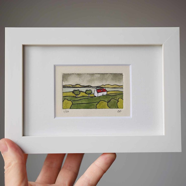Sally J Fisher Original Collagraph Print Rectangle Frame - Cottage