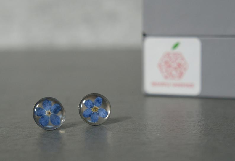 Red Apple Forget Me Not Earrings