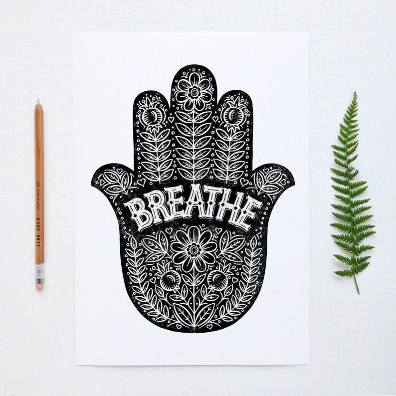 Alexandra Snowdon A3 Breathe Yoga Hand Print
