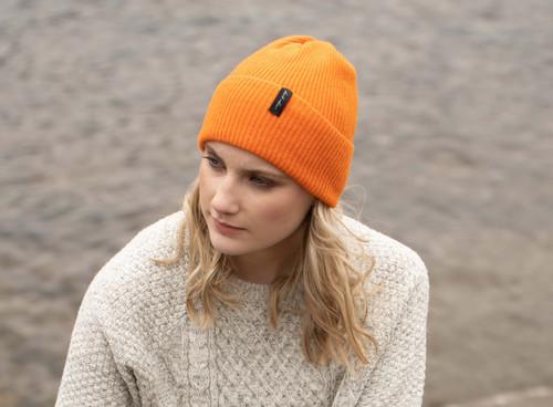 Island Nation Studio Ribbed Winter Hat - Bright Orange
