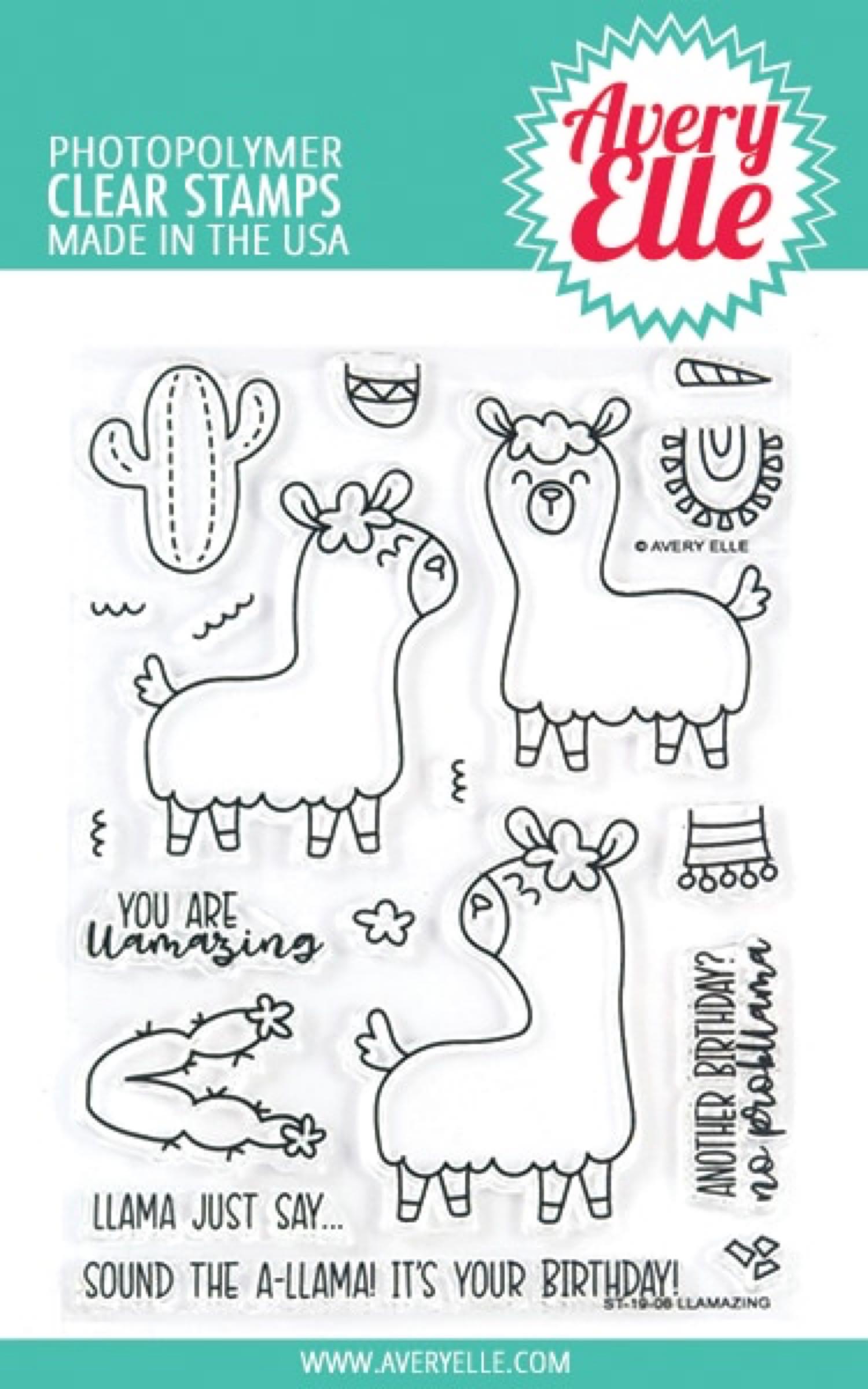 Avery Elle Clear Stamps / Klar Stempel Pakke - Llamazing