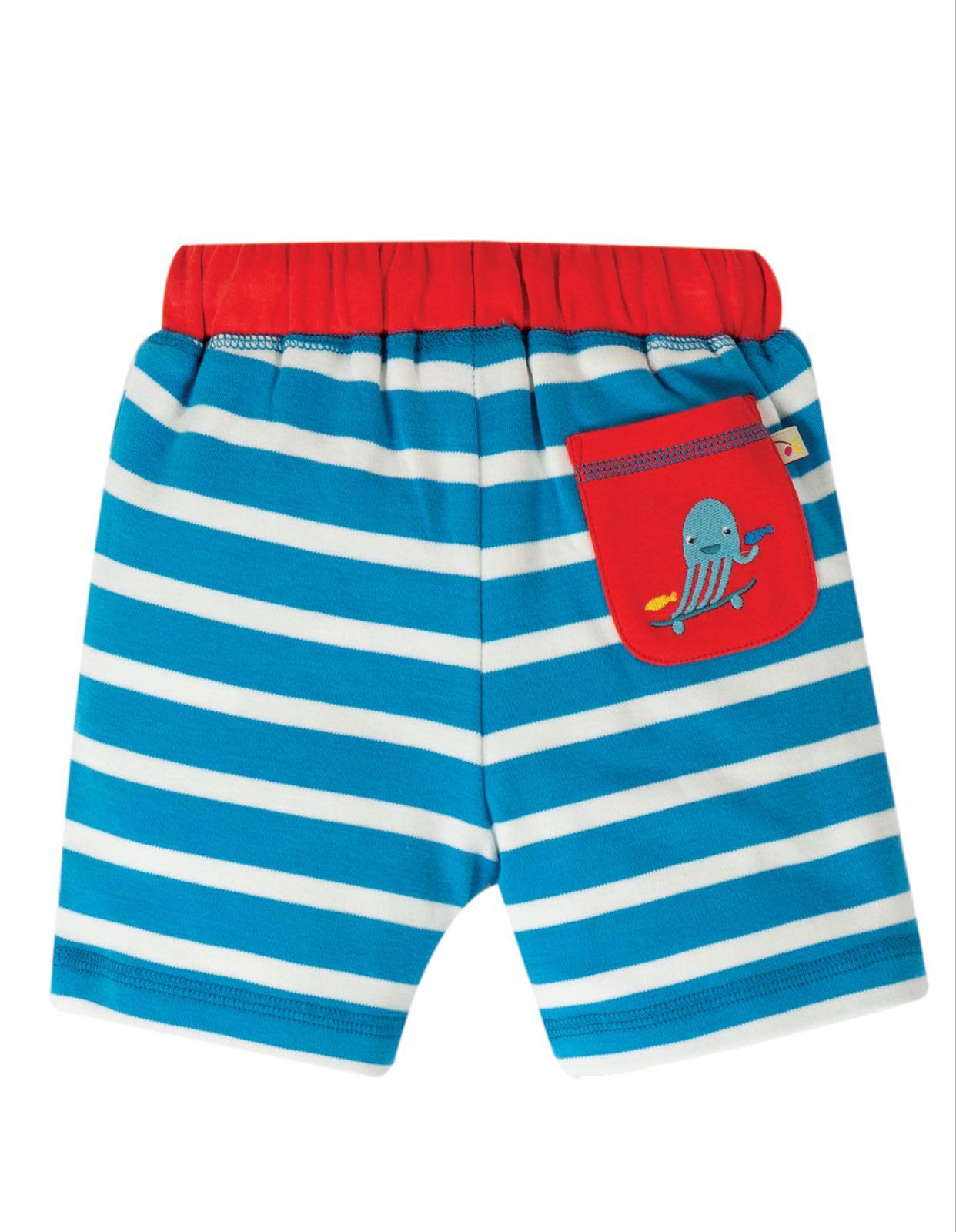 Frugi Little Stripy Shorts Motosu Blue Stripe