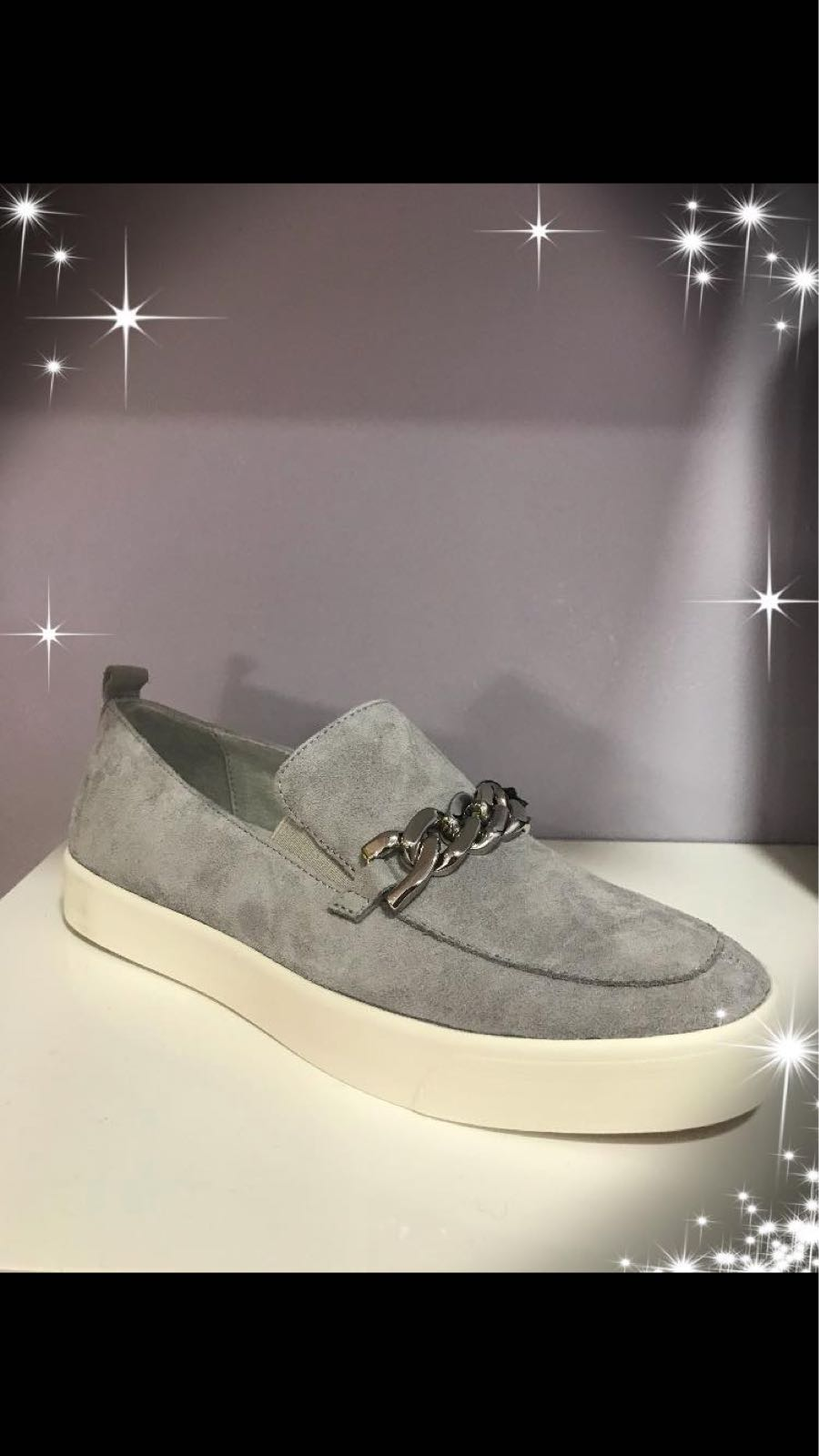 Caprice Grey Suede Pump with Silver Chain detail