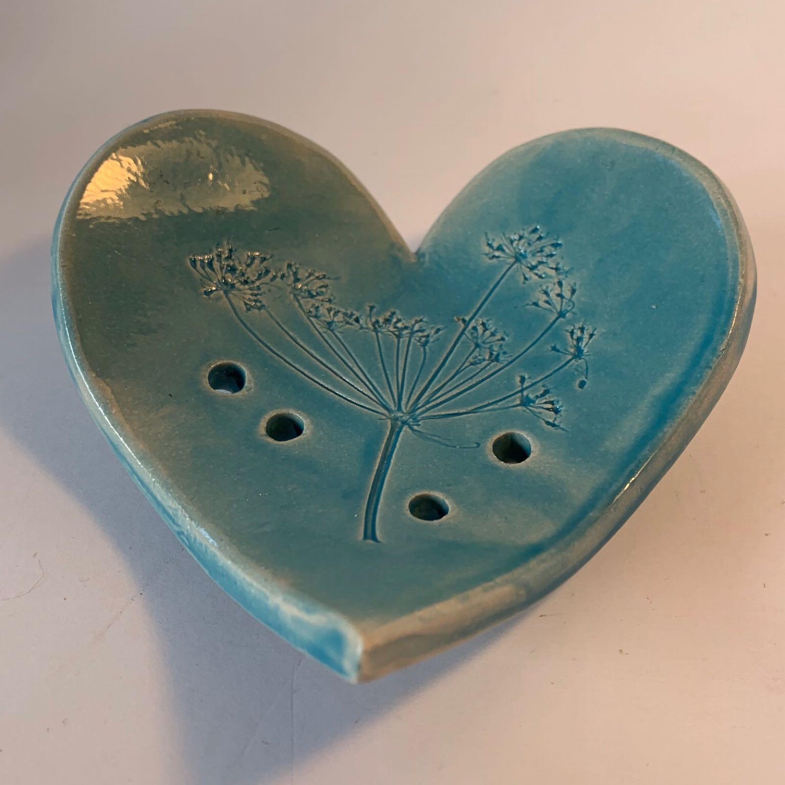 Ceramic Heart Soap Dish - Aqua