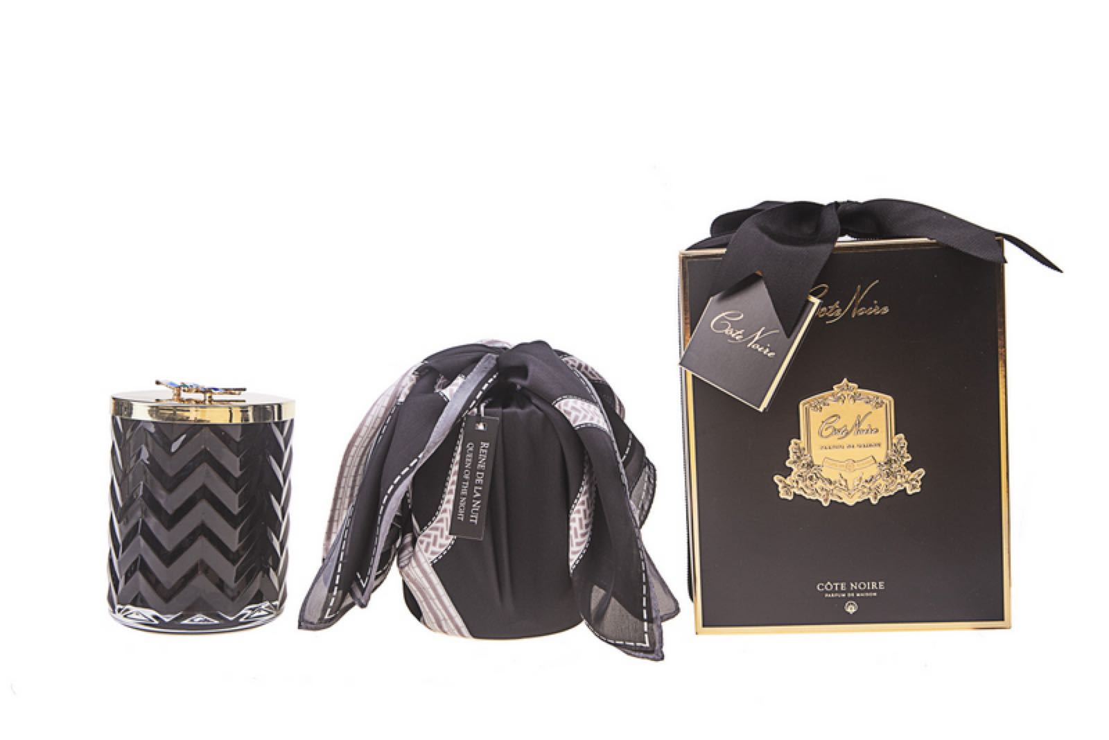 Cote Noire Fragrance Herringbone Queen of the night Candle with silk scarf