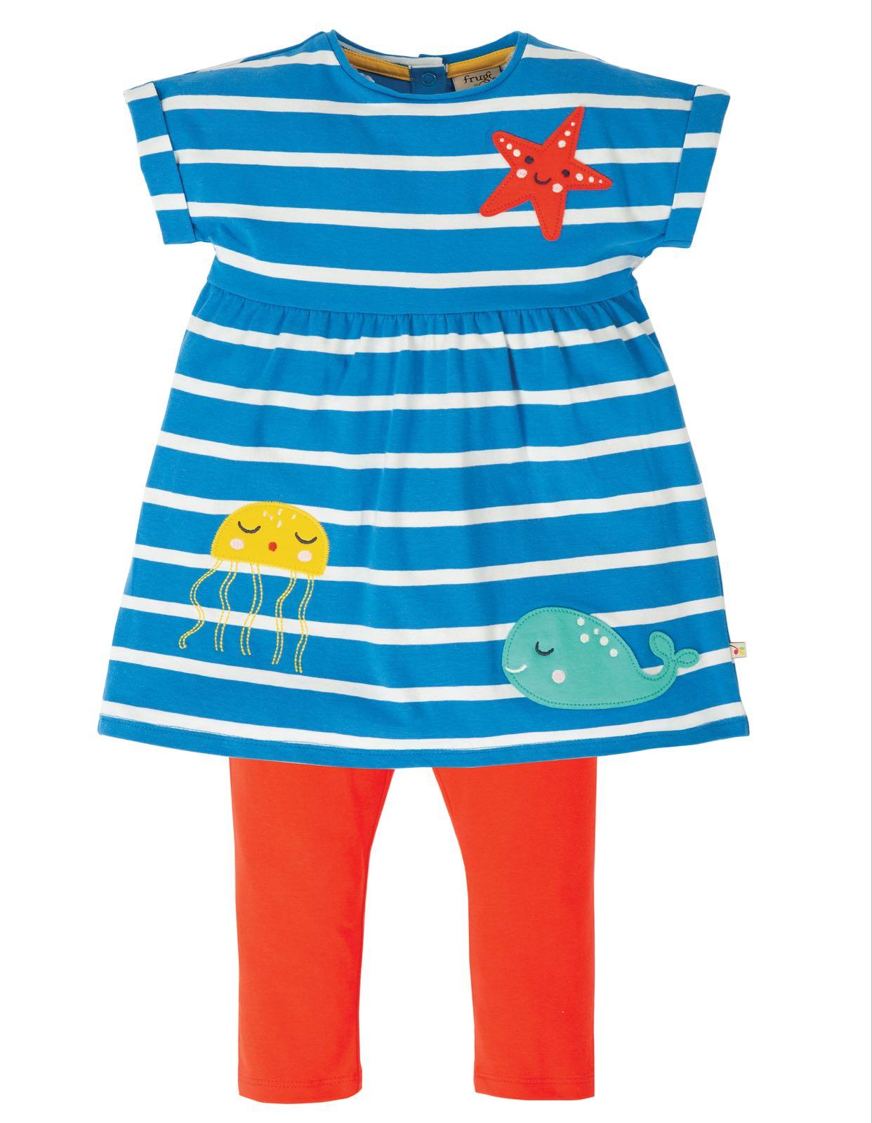 Frugi Olive Outfit Motosu Blue Stripe Sealife