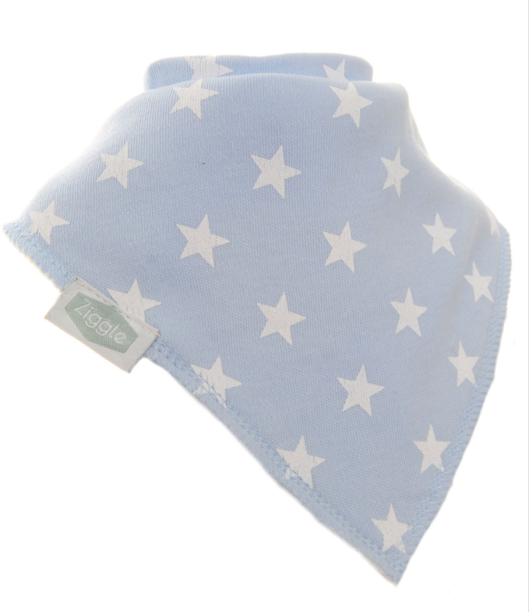 Ziggle Blue with White Stars  Bandana Bib