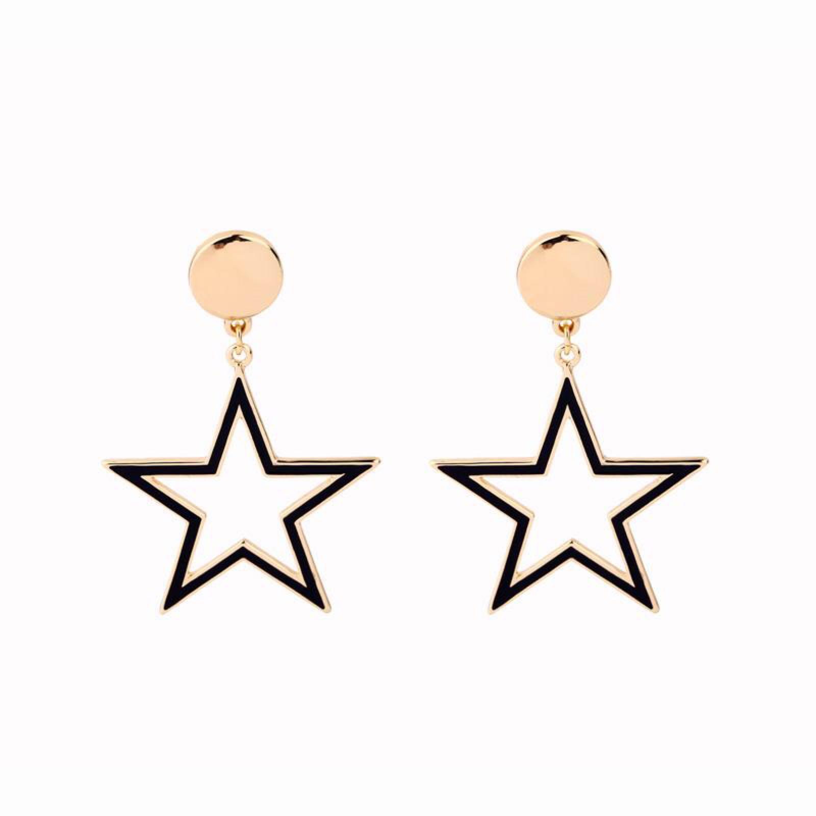 Last true angel gold dot and black star stud earrings