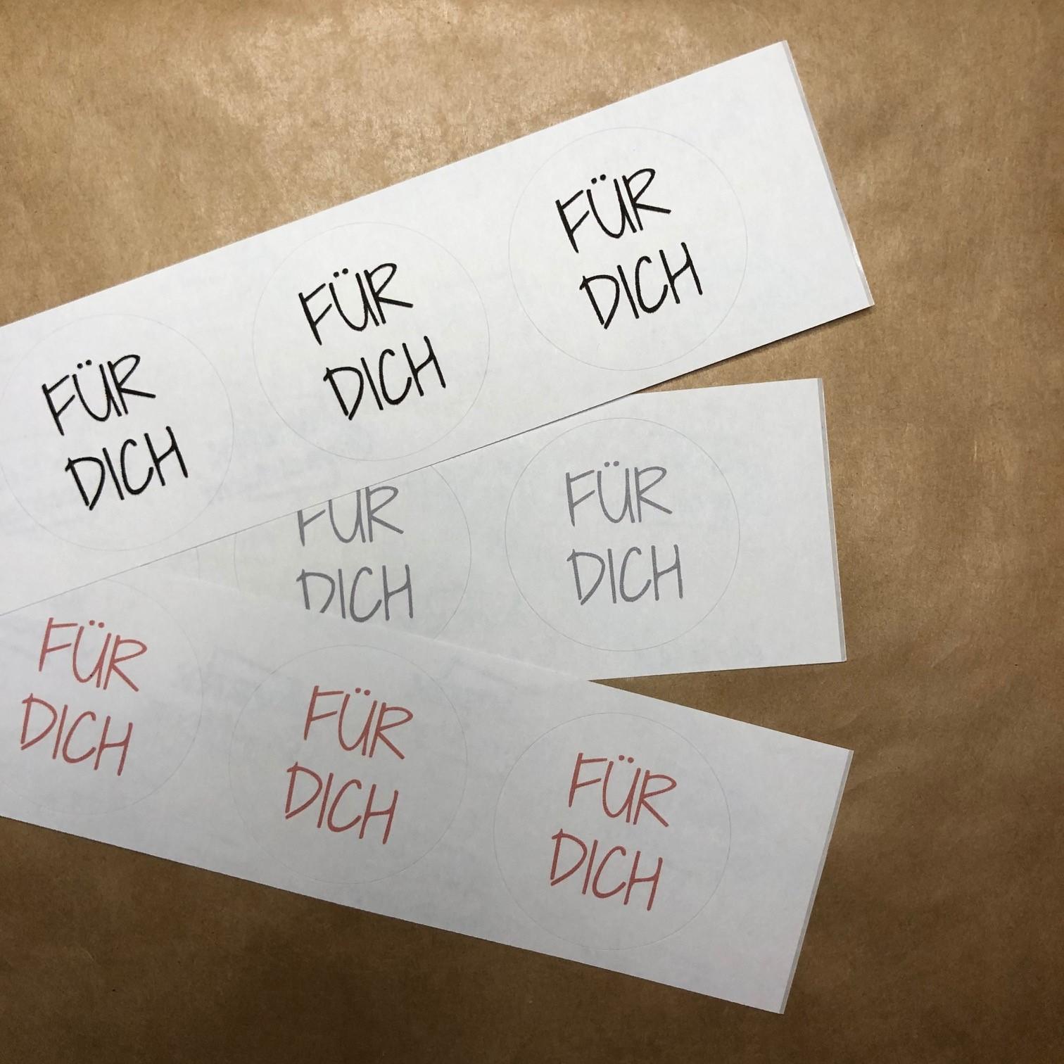 """Sticker / Aufkleber """"Für Dich"""" (4 Stück im Set)"""