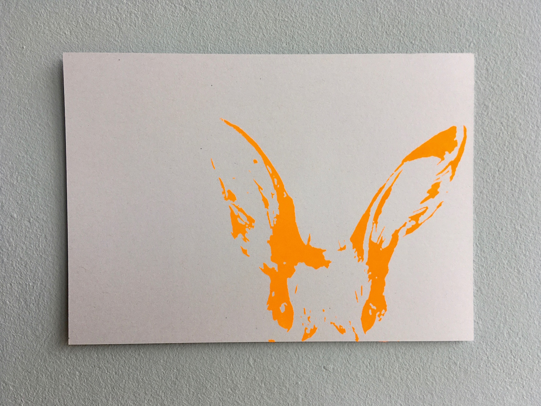 """Postkarte """"wer bist du denn ?"""" (Hase, verschiedene Farben)"""
