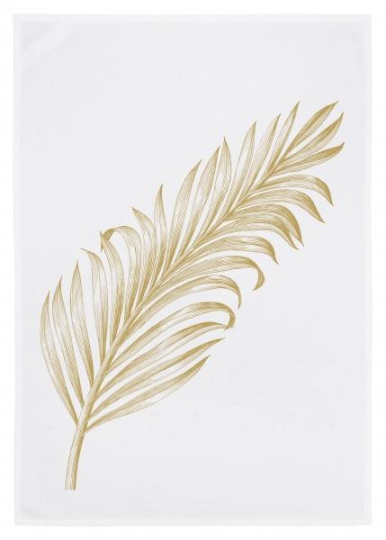 Geschirrtuch weiss, PALMEN-BLATT, gold