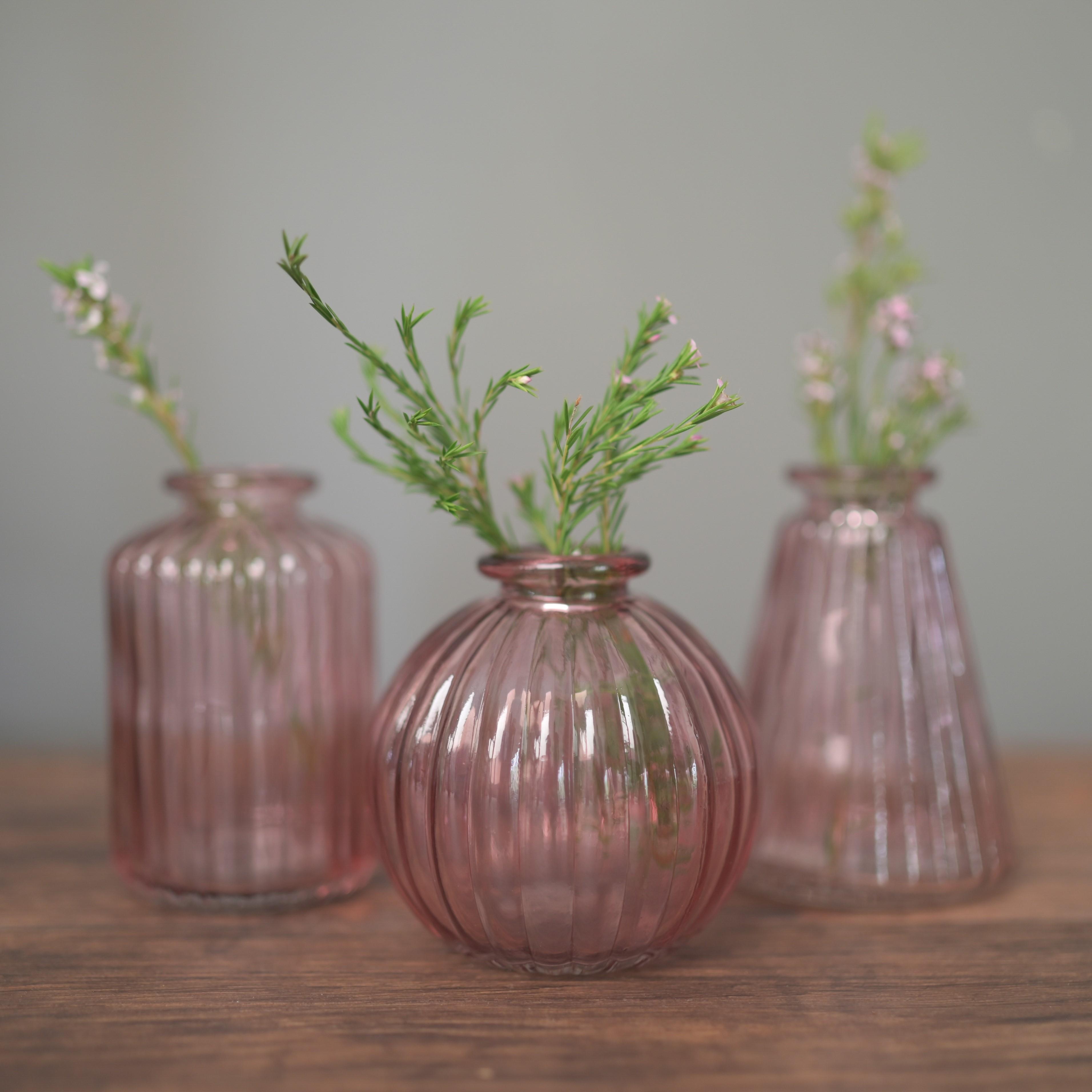 Pink Glass Vases - Set of 3