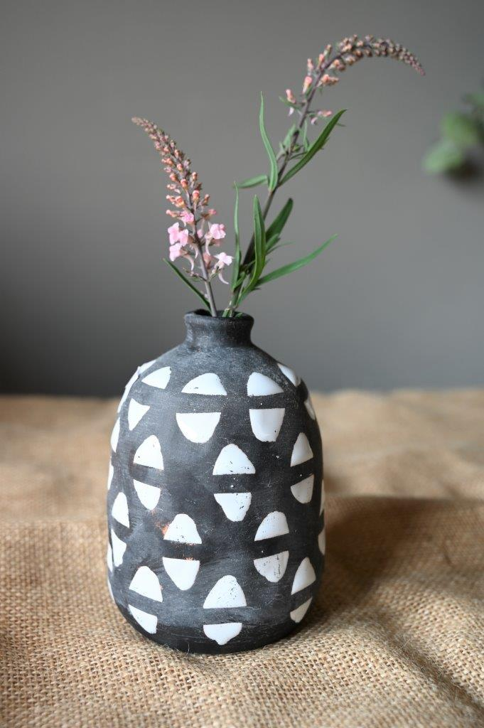 Black and White Geometric Vase