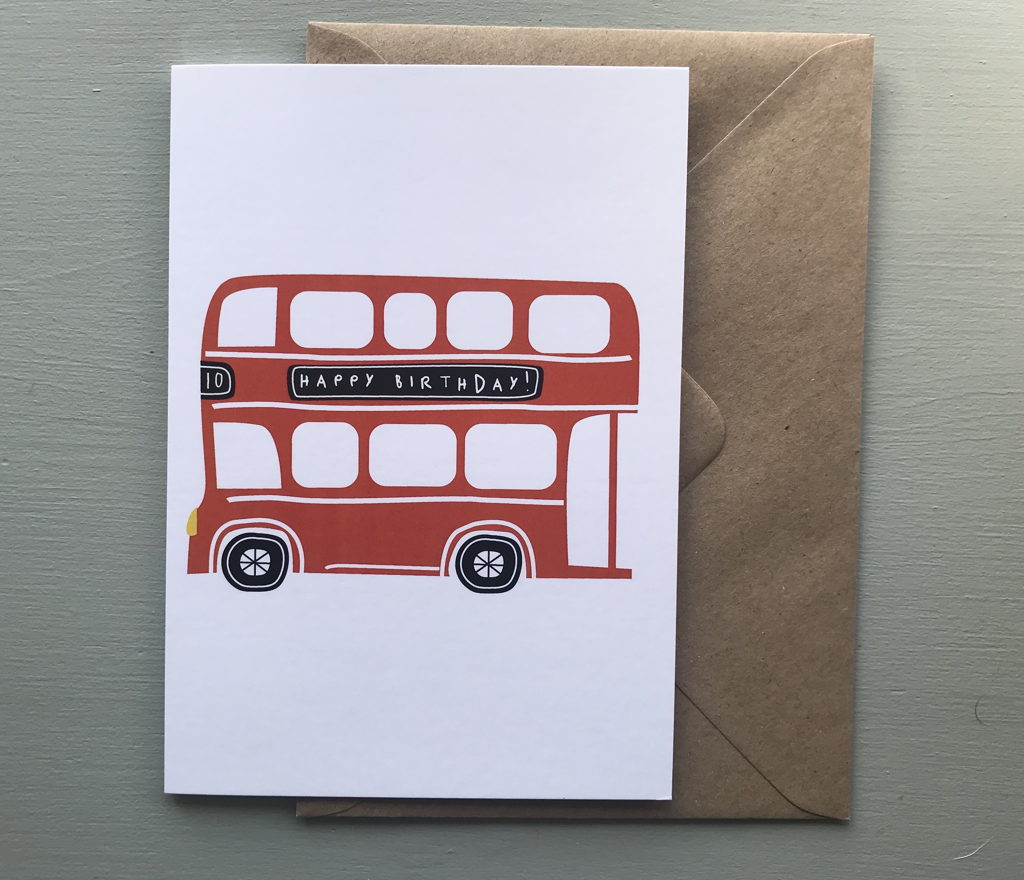 Red Bus Birthday Card