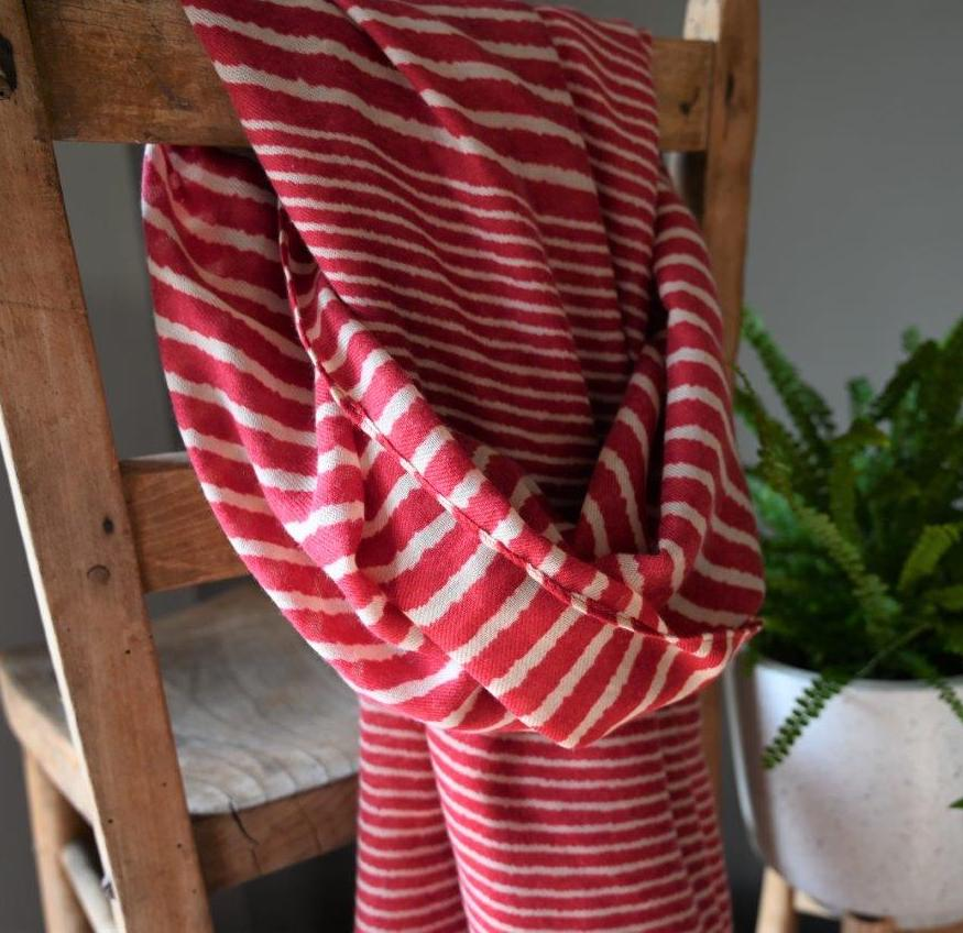 Red Cross Striped Scarf