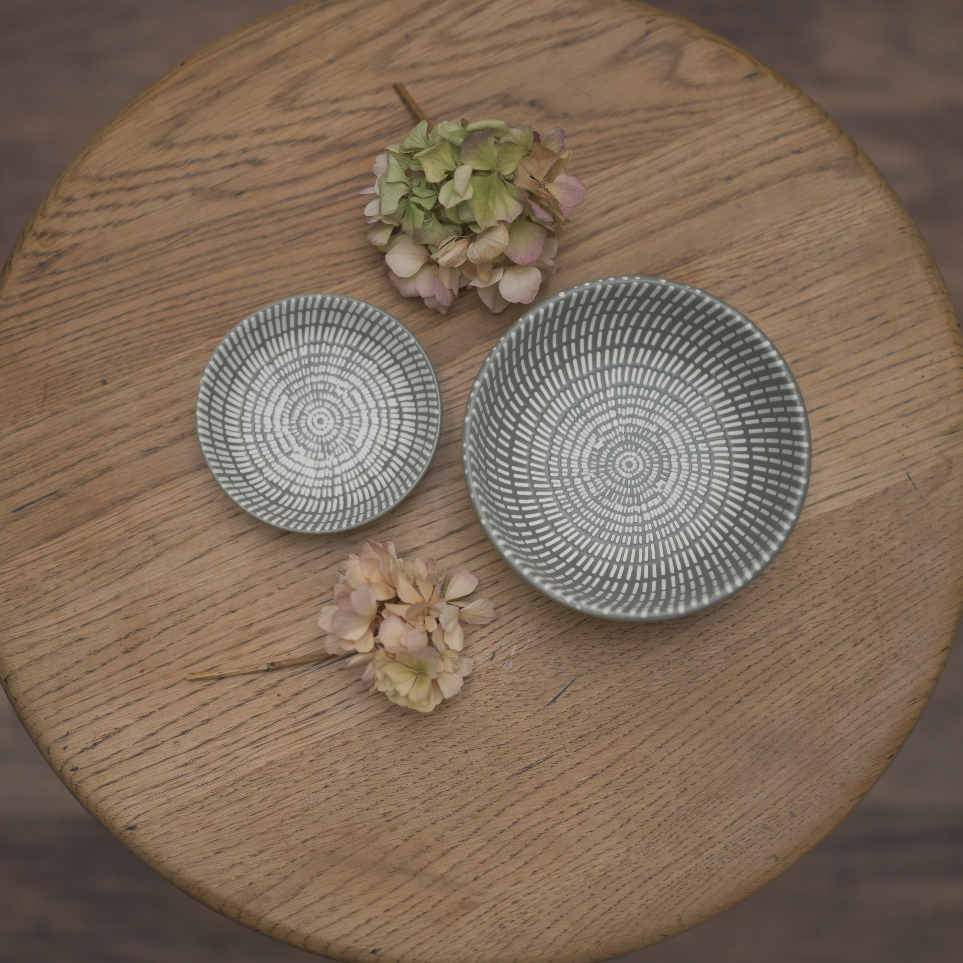 Grey Dash Ceramic Dish