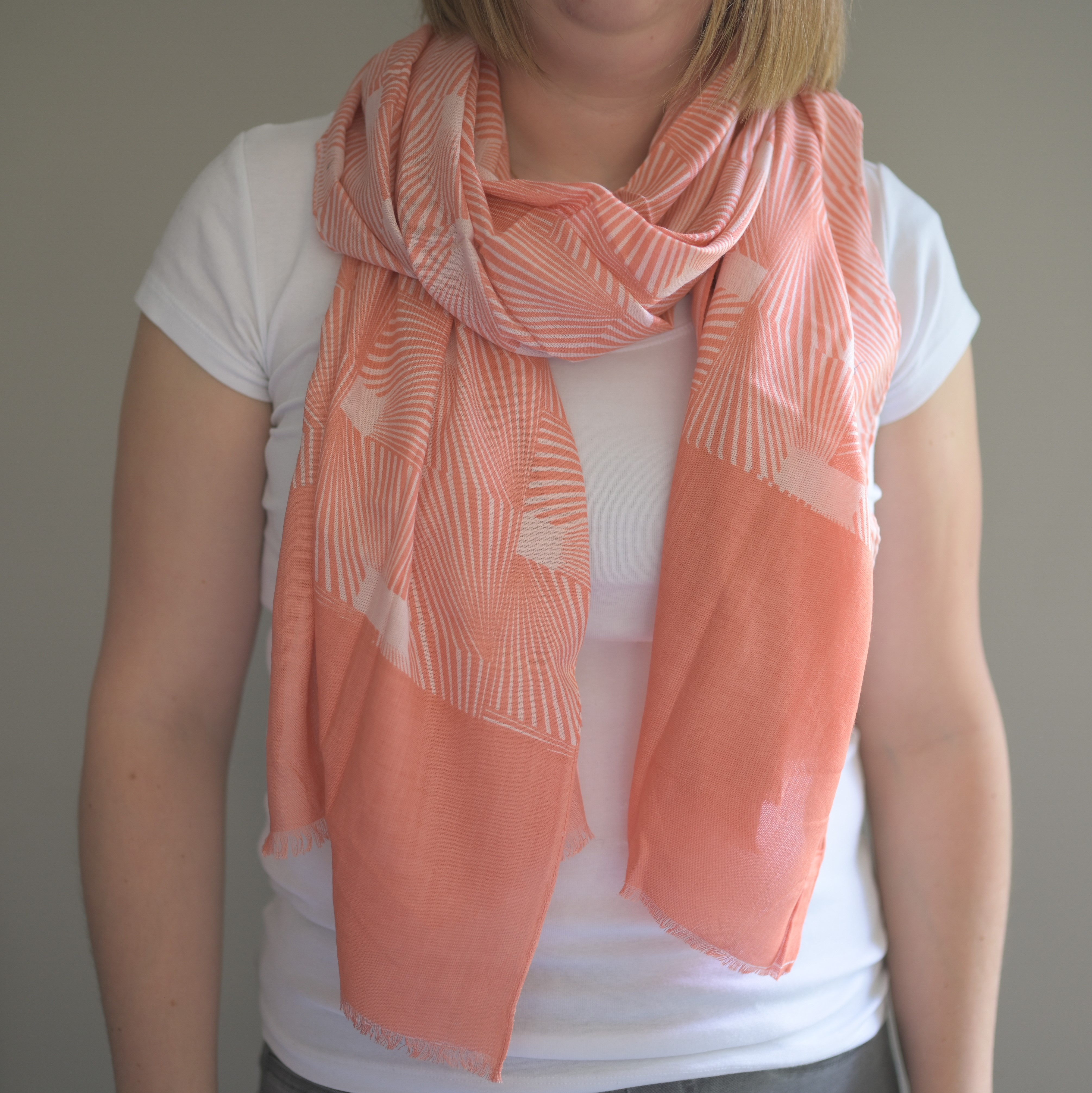 Geo Tile Scarf in Coral