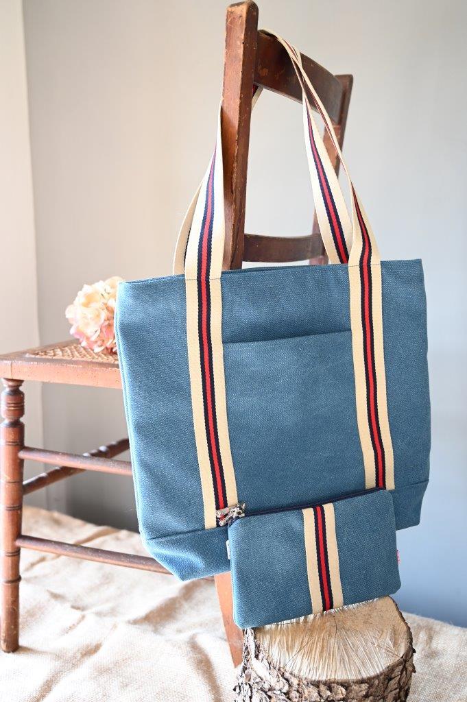 Blue & Red Stripe Tote bag