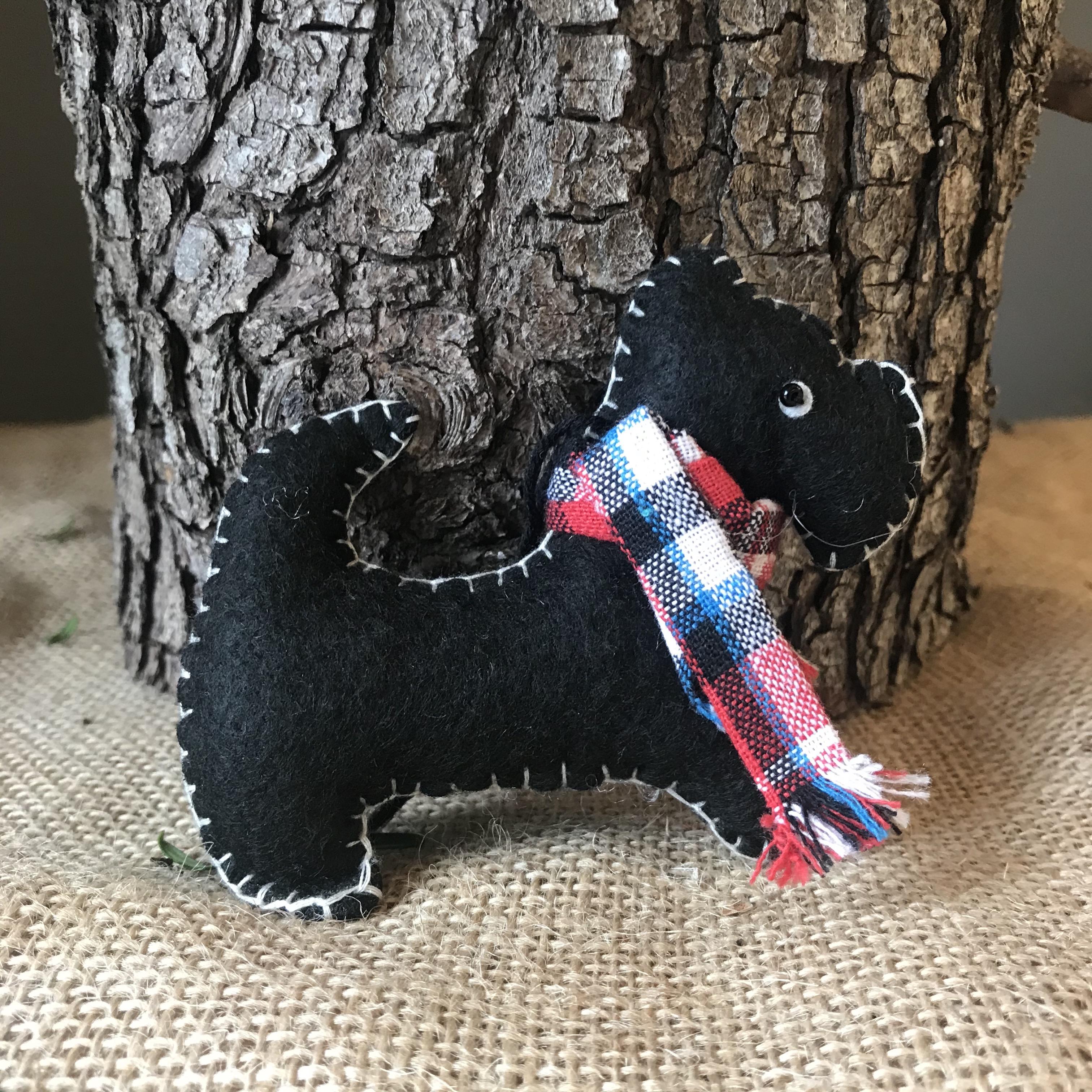 Felt Scottie Dog, Tree Decoration - £2.40