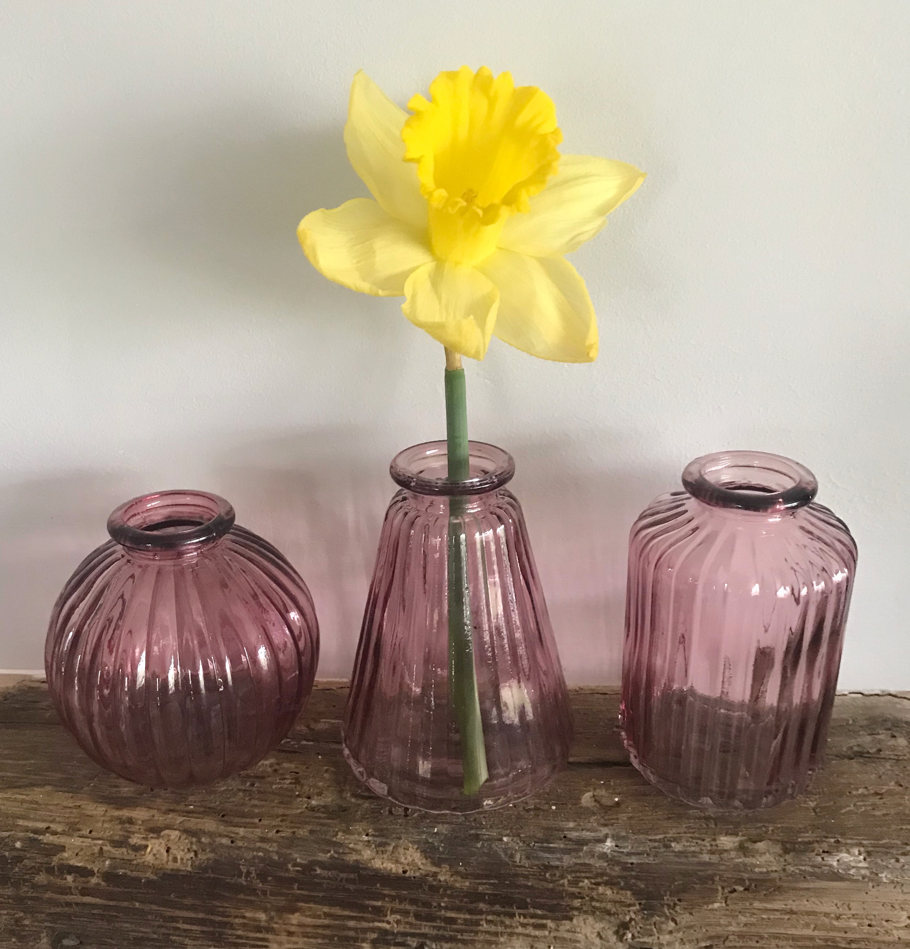 Pink Glass Vases - Set of 3