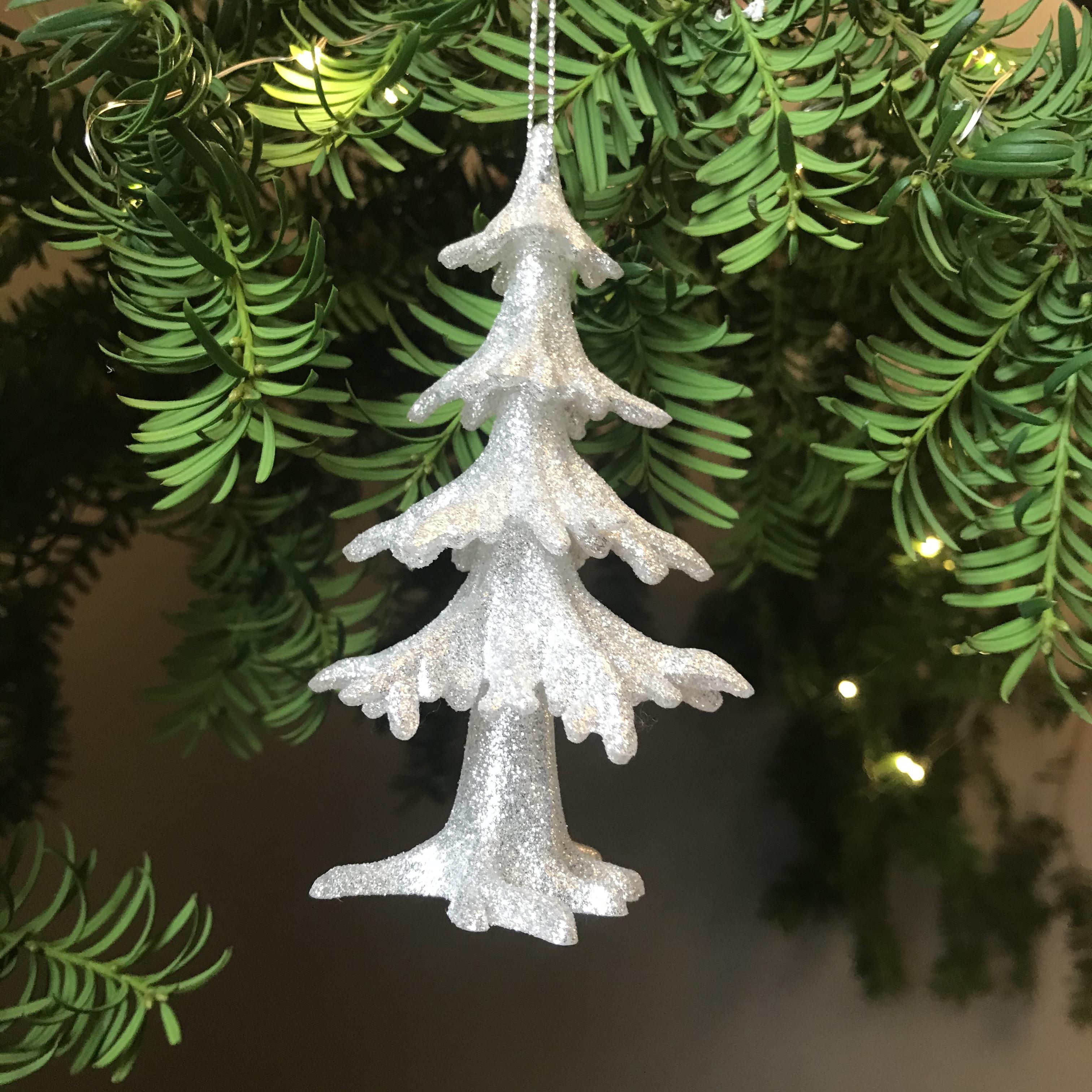 3D Silver Glitter Tree Decoration - was £3.50