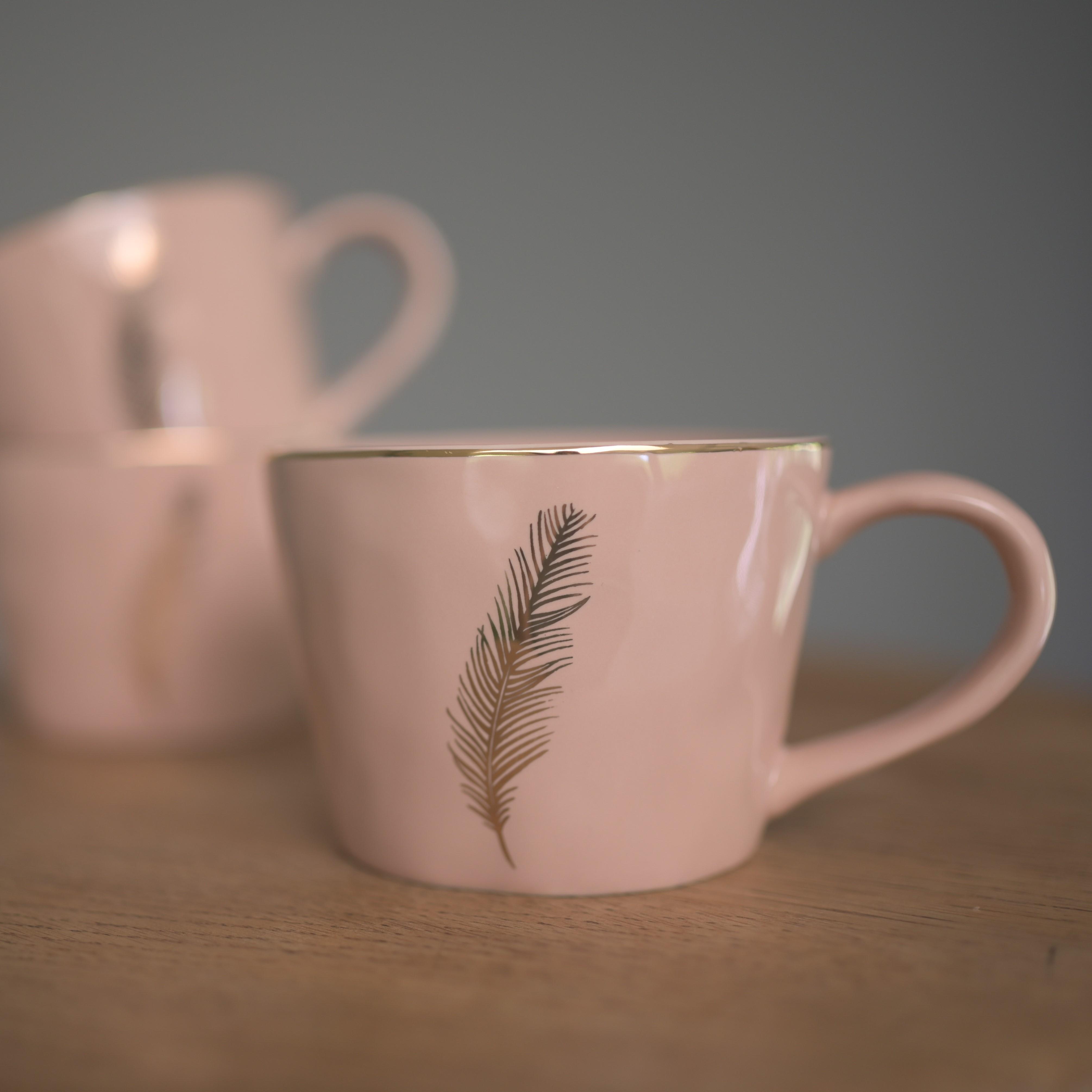 Gold Feather Artisan Ceramic Mug, Pale Pink