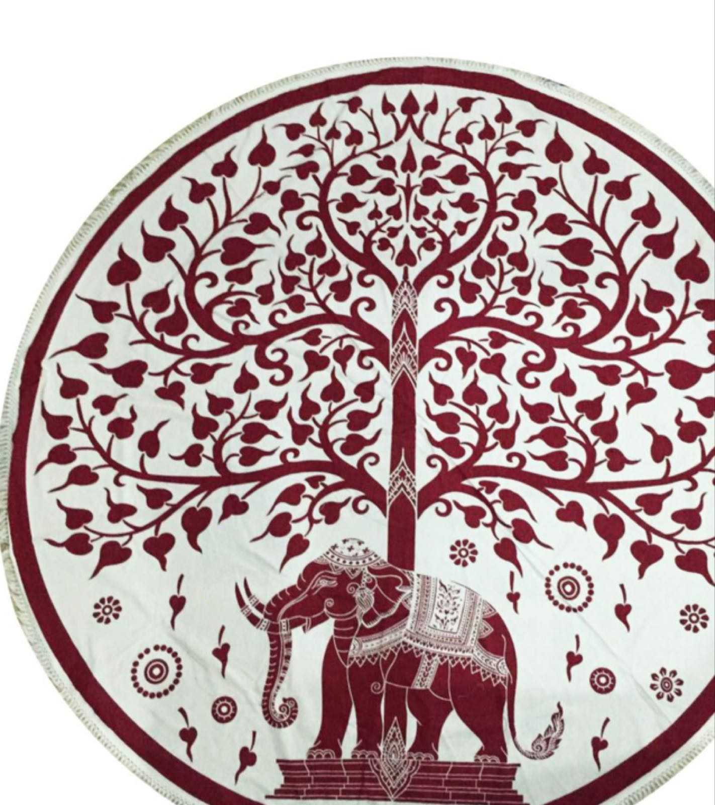 Cotton Tapestry elephant och Tree red 449:-