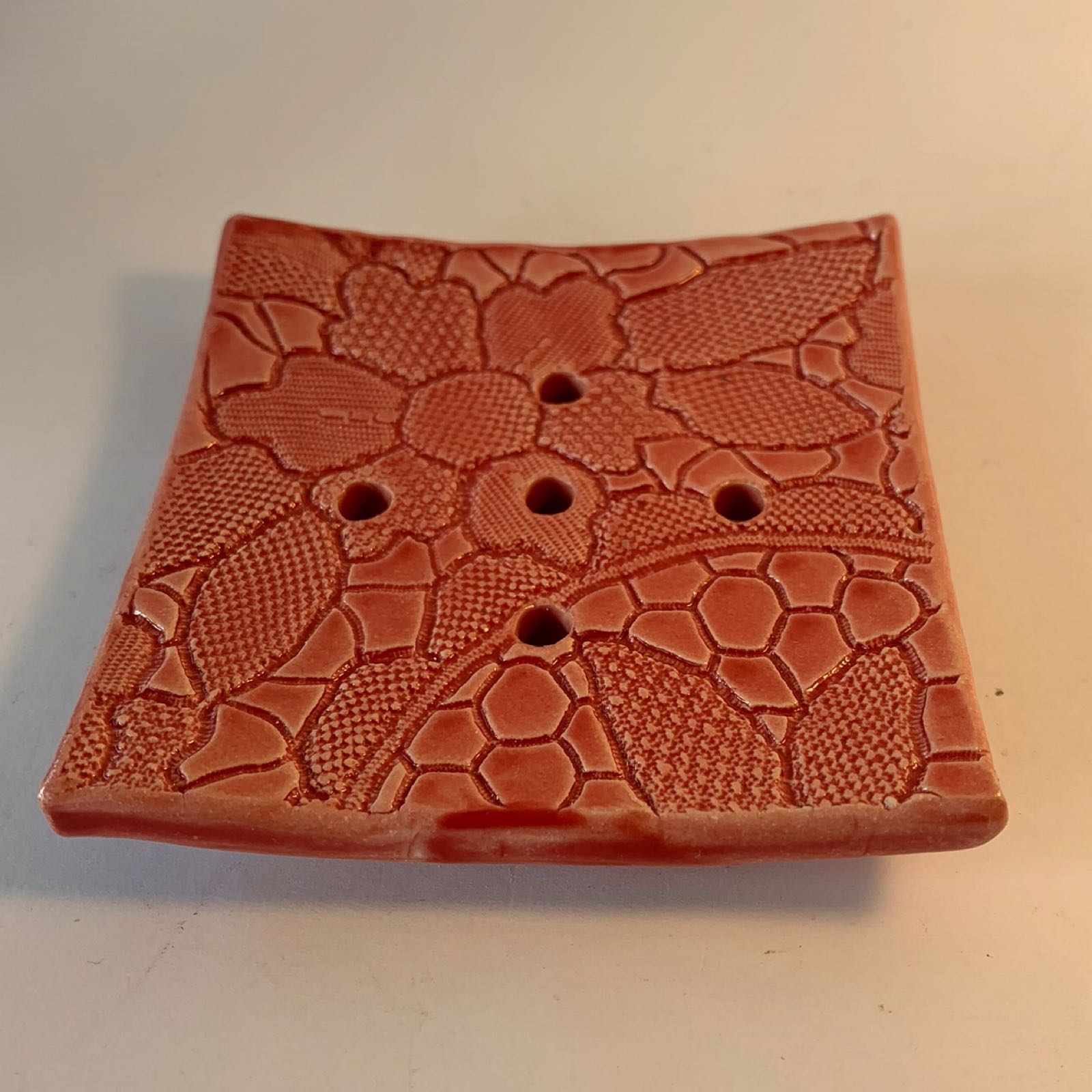 Ceramic Square Soap Dish - Red