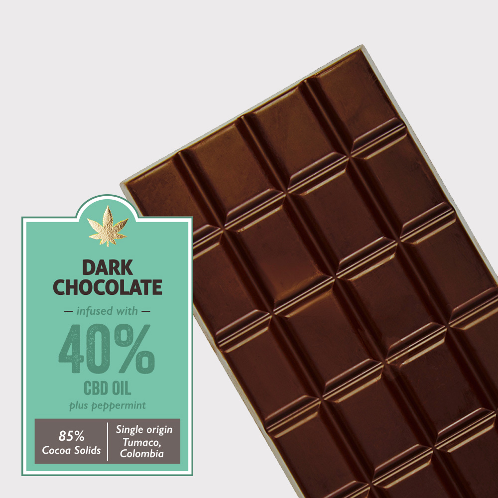 Dark chocolate (85% cocoa) infused with 40% CBD + Peppermint