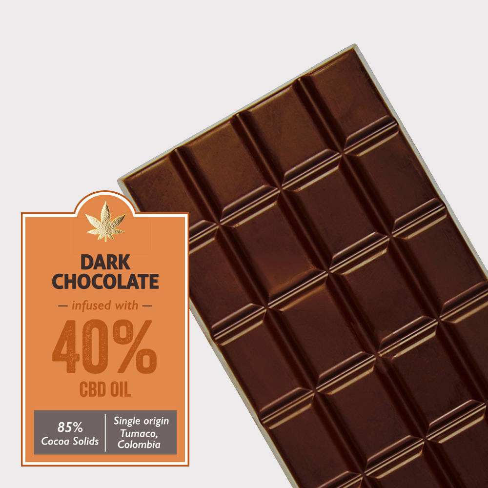 Dark chocolate (85% cocoa) infused with 40% CBD
