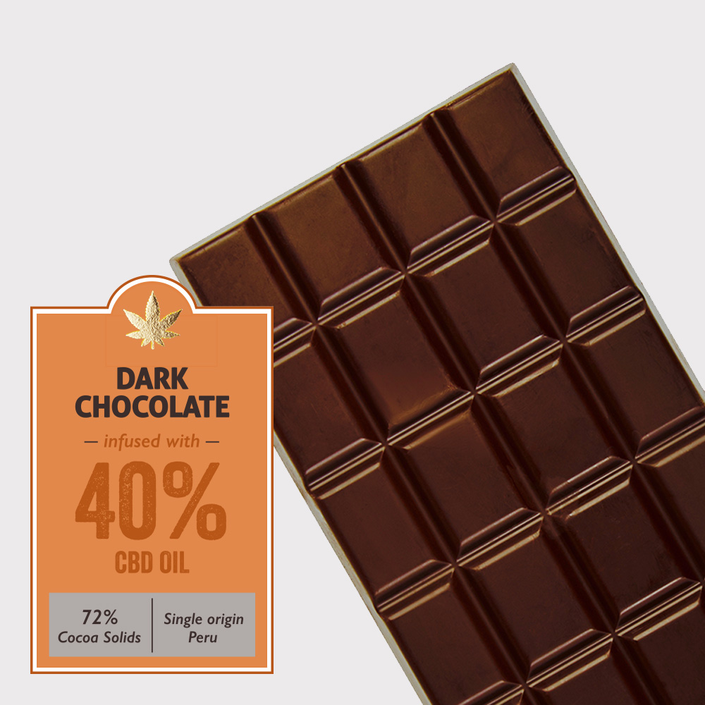 Dark chocolate (72% cocoa) infused with 40% CBD