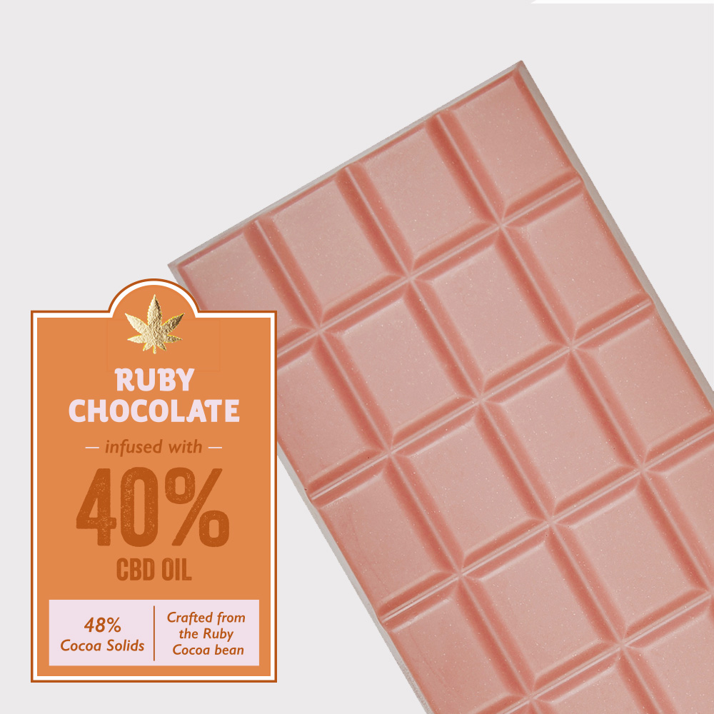 Ruby chocolate infused with 40% CBD