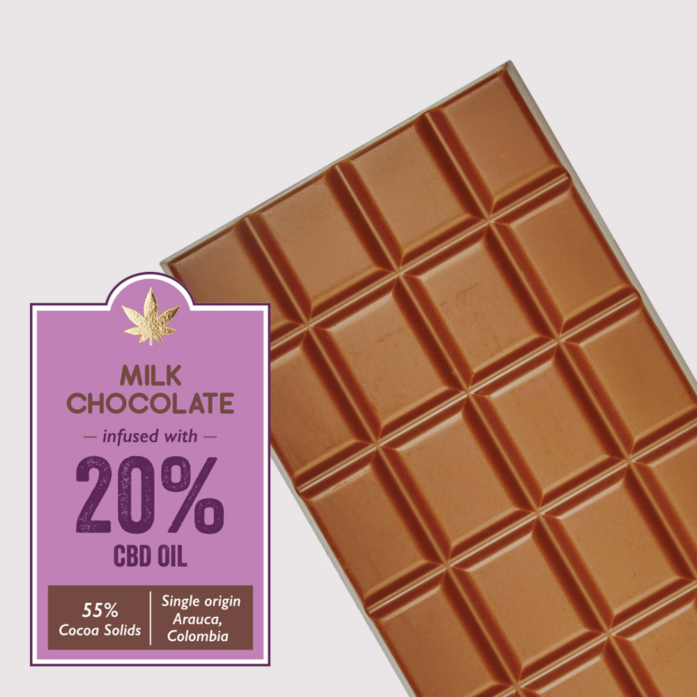 Milk chocolate infused with 20% CBD