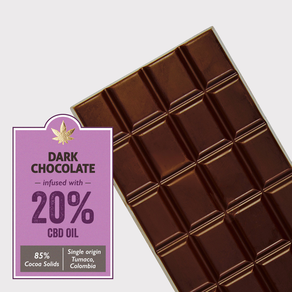 Dark chocolate (85% cocoa) infused with 20% CBD