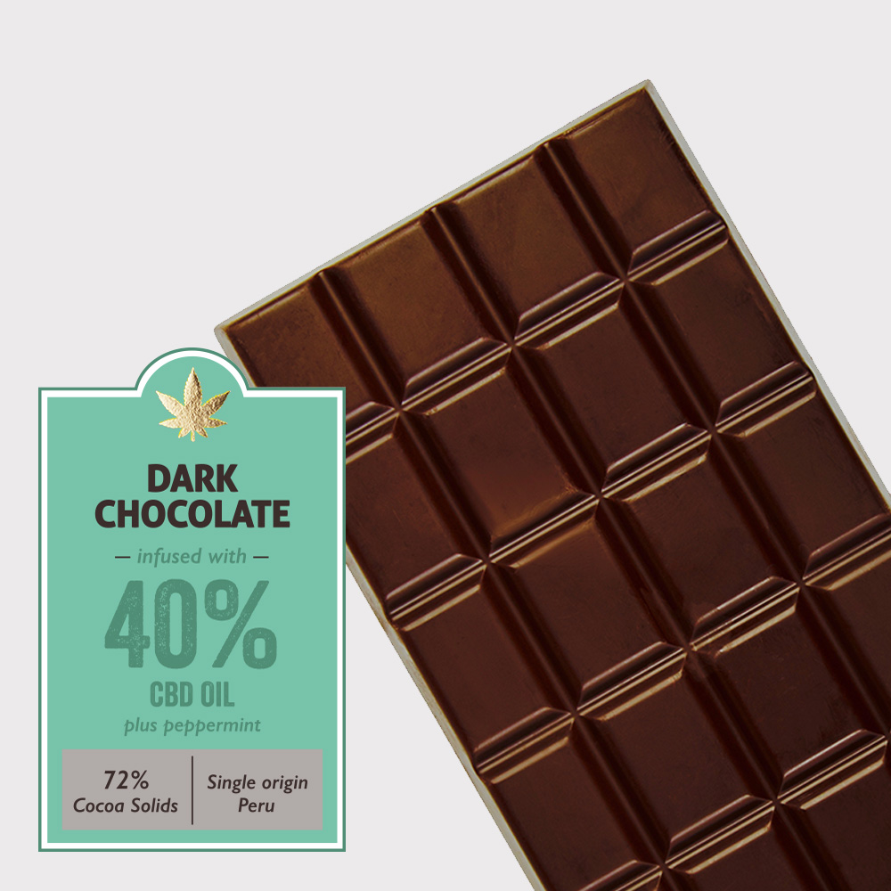 Dark chocolate (72% cocoa) infused with 40% CBD + Peppermint