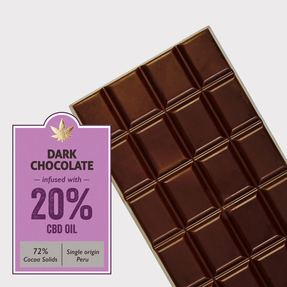 Dark chocolate (72% cocoa) infused with 20% CBD