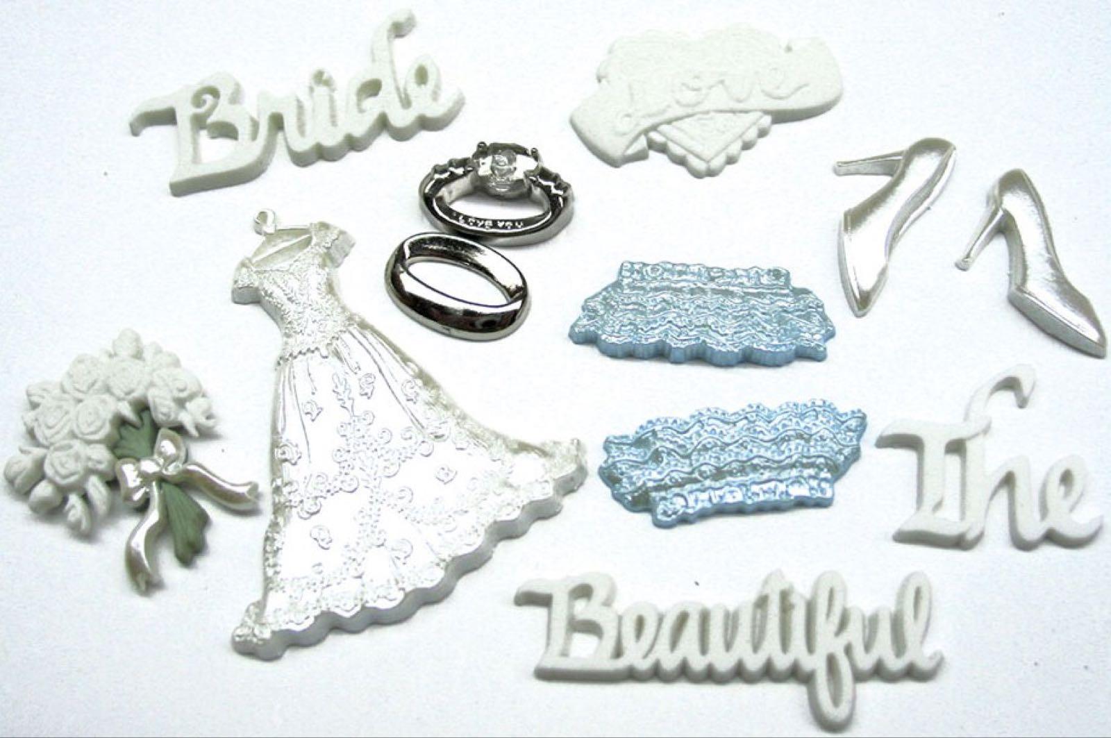 Memory mates bride, brudepynt: sko, kjole, hjerte, bånd, ringer, blomster-bukett, ord.