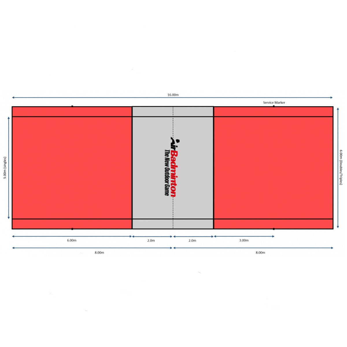 BOUNDARY LINES FOR AIRBADMINTON COURT